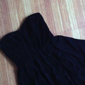 Zara black velvet strapless skater dress